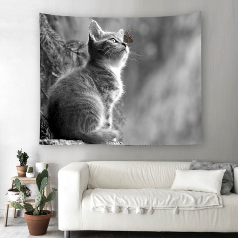 Image of Decorative Cute Cat Wall Art Tapestry