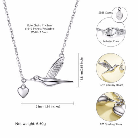 Image of 100% 925 Sterling Silver Hummingbird Pendant
