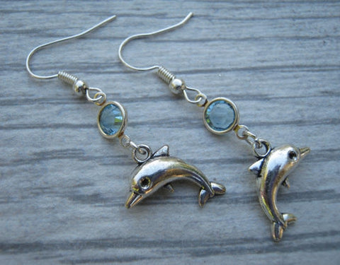 Dolphin Birthstone Earrings
