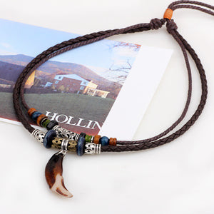 Tribal Boheme Leather Wolf Tooth Necklace