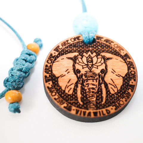 Elephant 1.5 Diameter Handcrafted Alder Wood Power Animal Pendant