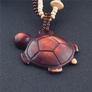 Ethnic Style Turtle Wood Pendant