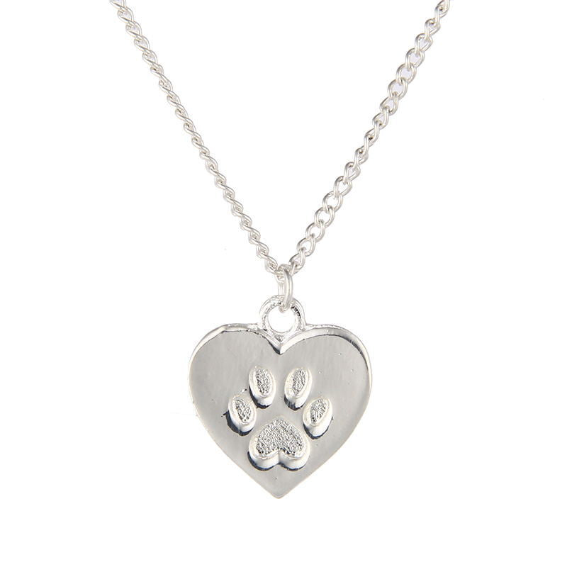 Cat Lover Friendship Heart Charm Necklace