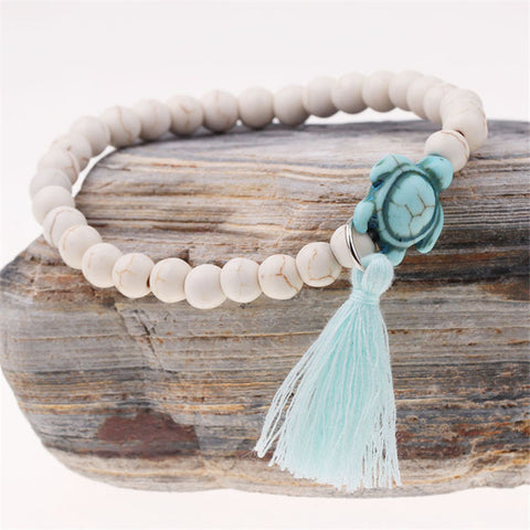 Image of White Color Bohemia Turtle Tassel