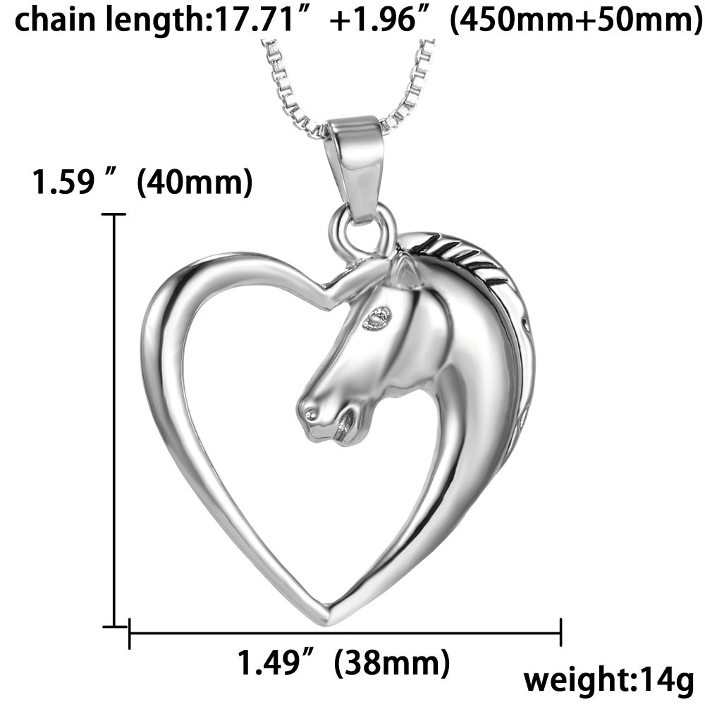 Heart Horse Necklace