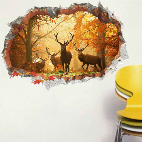 3D Forest Deer Wall Sticker