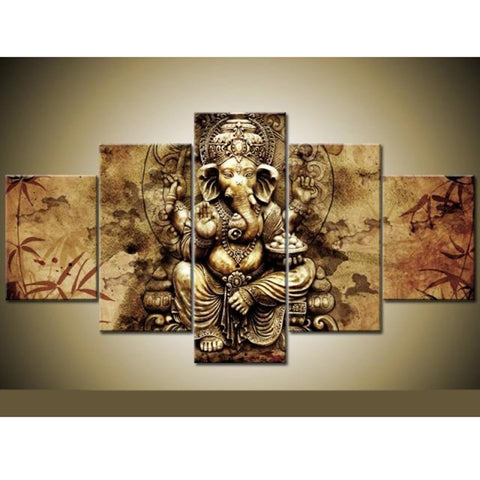 5 Panel Ganesha Wall Painting