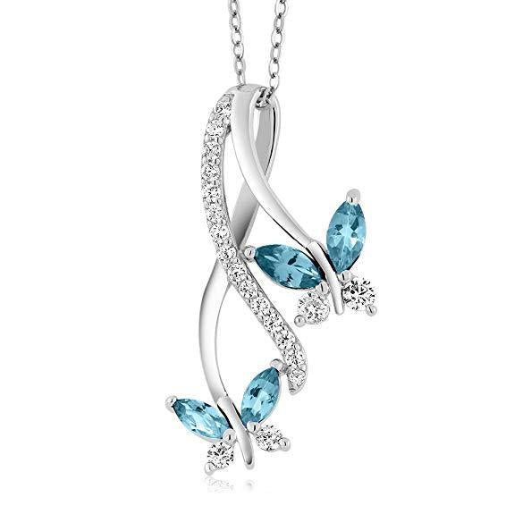 Butterfly Blue Topaz Necklace18K White Gold Plated