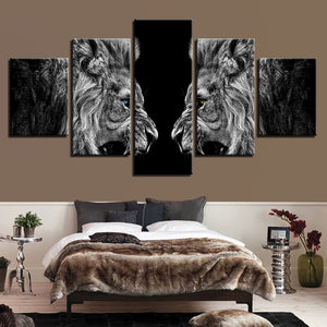 5 Pieces Roaring Lions Mirror Paintings