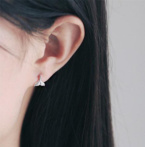 Image of Dolphin Tail Stud Earrings