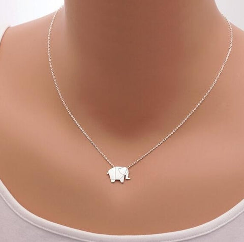 Origami Elephant Geometric Necklace