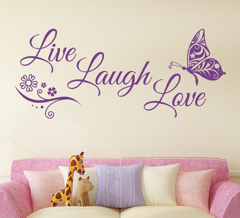 Image of Live Laugh Love Butterfly Flower Wall Art Sticker