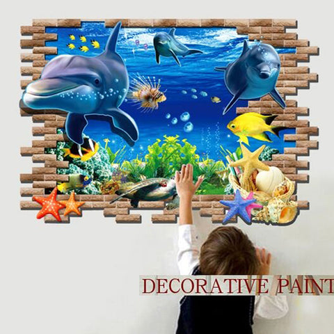 Wall Sticker 3D Dolphins