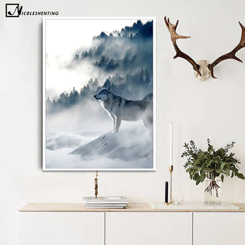 Nordic Wolf Snow Mountains Art Canvas