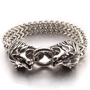 Double Lion Head Animal Stainless Steel Bracelet
