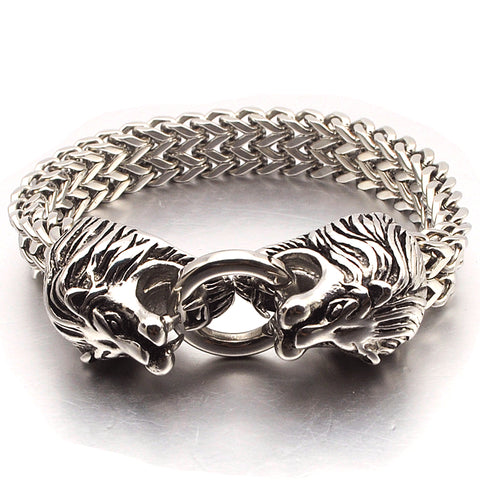 Image of Double Lion Head Animal Stainless Steel Bracelet
