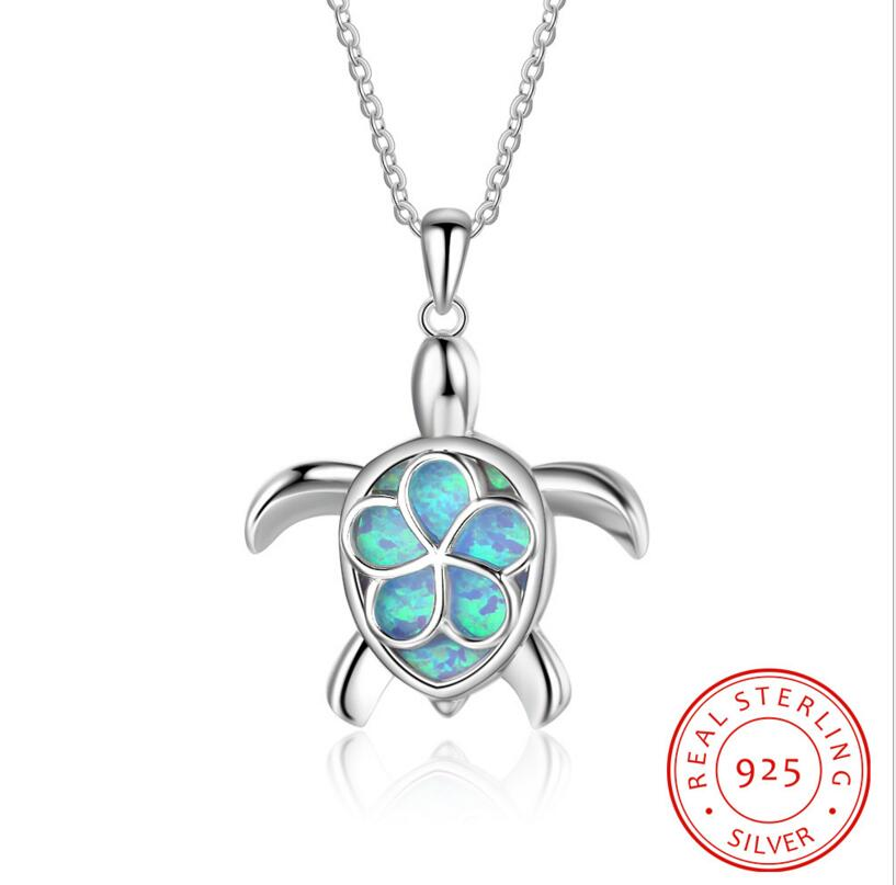 Sterling Silver Opal Animal Turtle Pendant