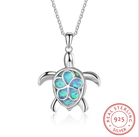Image of Sterling Silver Opal Animal Turtle Pendant