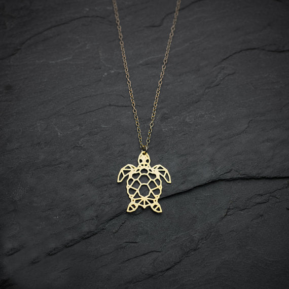 Sea Turtle Necklace Origami Geometric Turtle Silver Turtle Necklace & Pendants Party Accessories YLQ0541