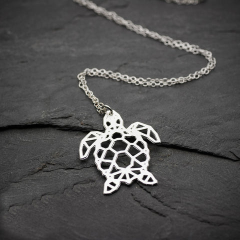 Image of Sea Turtle Necklace Origami Geometric Turtle Silver Turtle Necklace & Pendants Party Accessories YLQ0541
