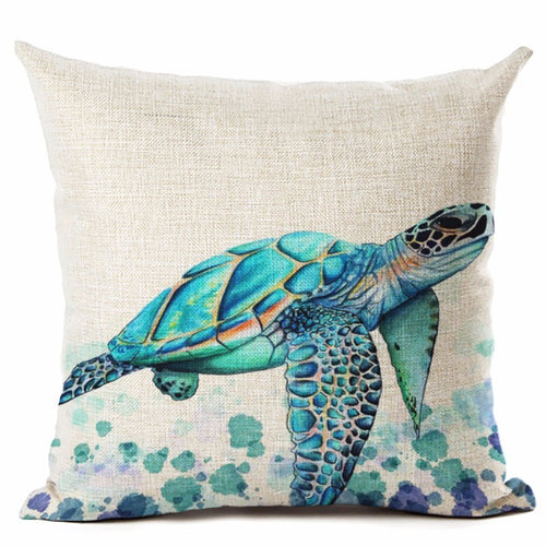Ocean Style Watercolor Sea turtle Throw Pillow Cover