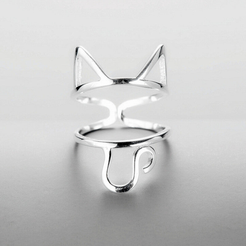 925 Sterling Silver Cute Cat Ring