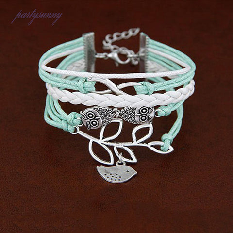 Absolutely Lovely Owl Rope And Silver Color Metal Bracelet