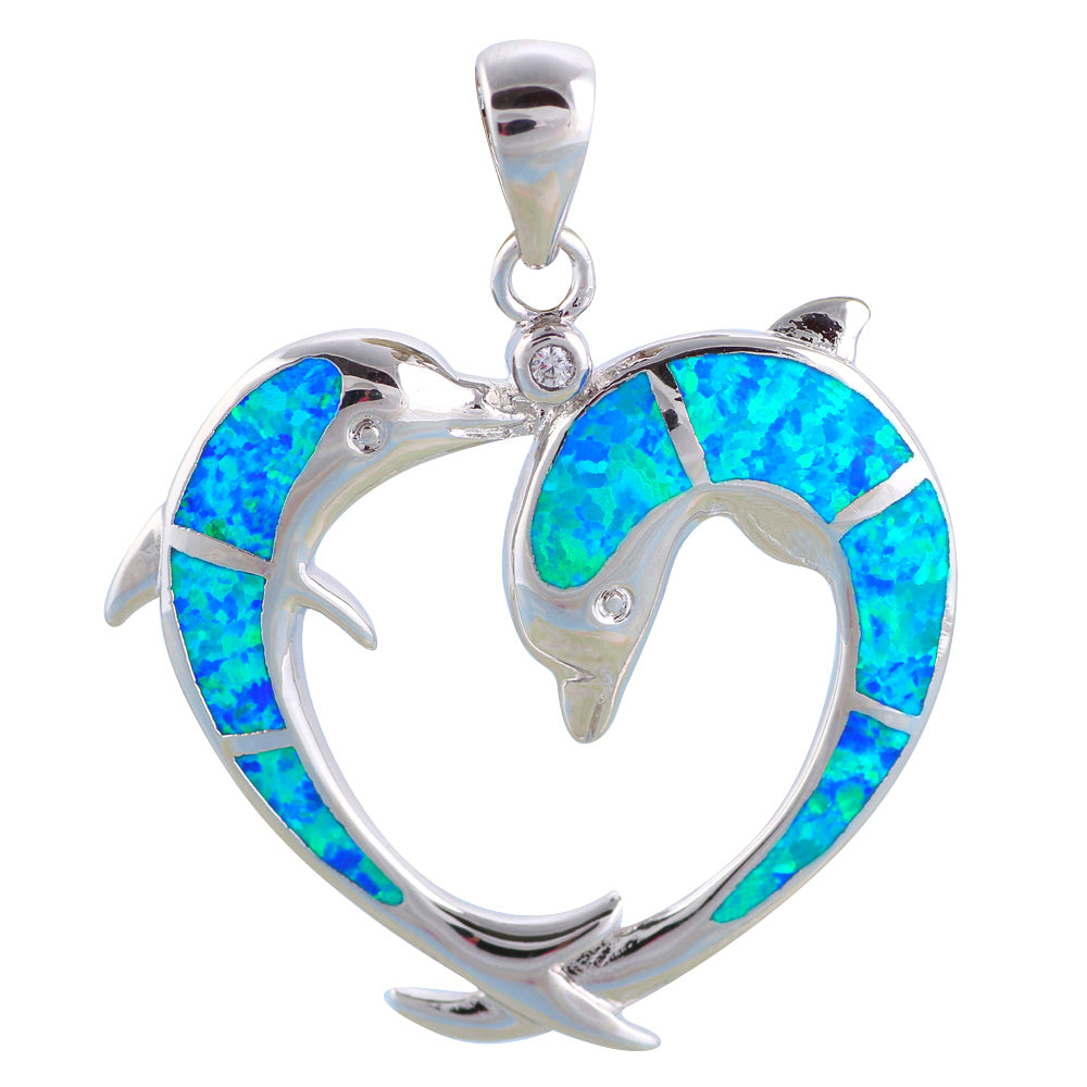 Blue Fire Opal Dolphin Sterling Silver Necklace
