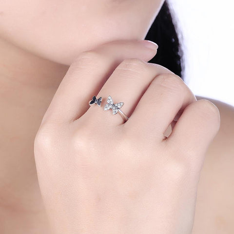 Image of Sterling Silver Swarovski Butterfly Ring