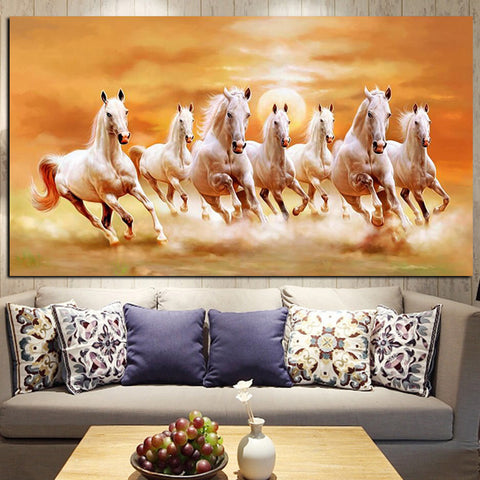 Seven Running White Horse Painting