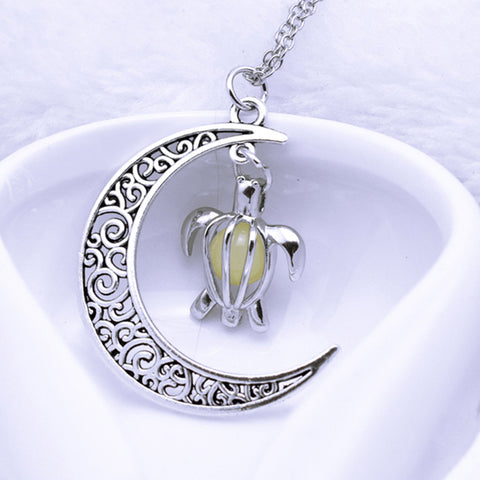 Silver Plated Moon Turtle Necklaces