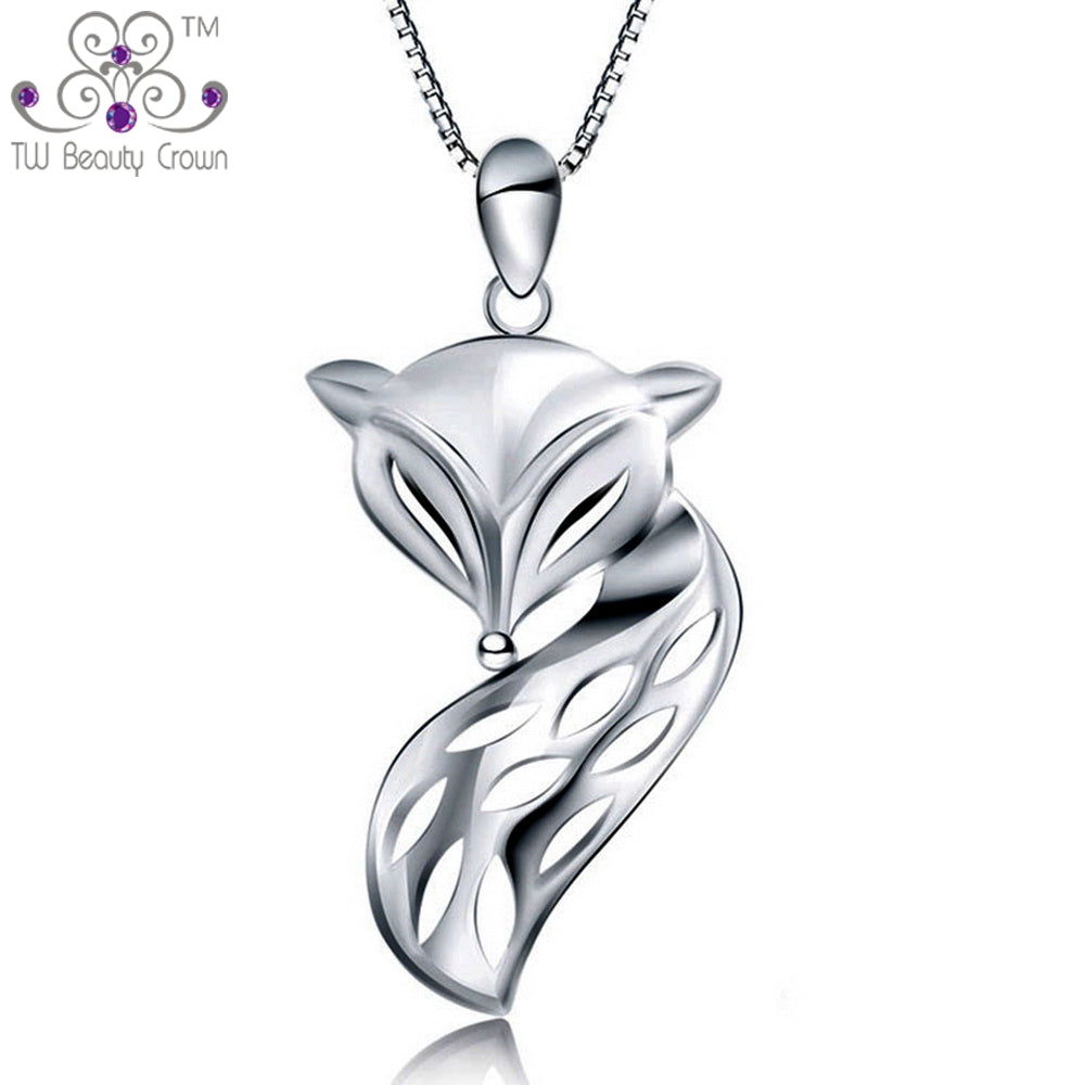 wolf in necklace realistic fox dotoly shaped jewelry pendant silver animal products