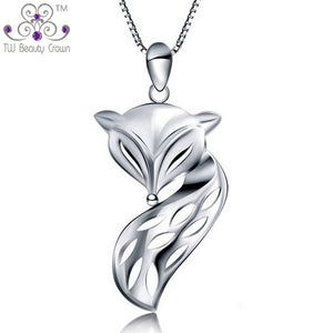Silver Cute & Lovely Fire Fox Animal Pendant