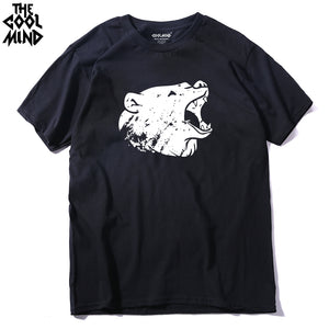 100% Cotton Bear Print Men's T Shirt