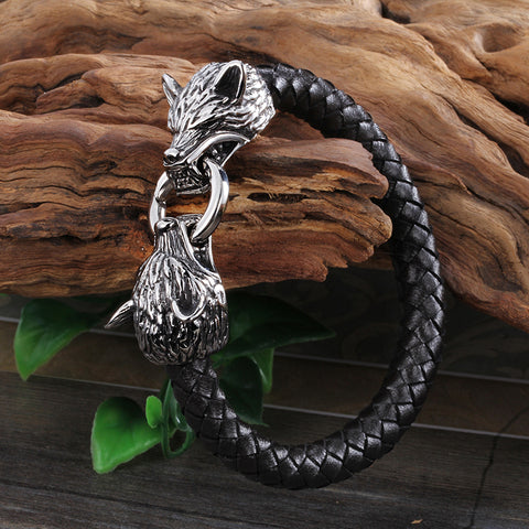 Wolf Head Bracelet -  Black Genuine Leather