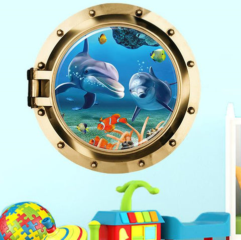 Image of Underwater Dolphin Wall Sticker