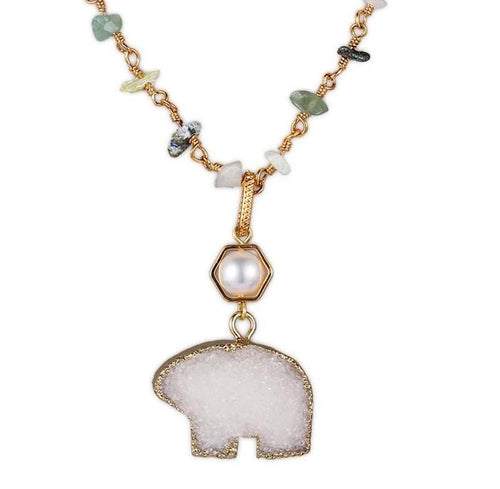 Bear Crystal with  Freshwater Pearl Necklace