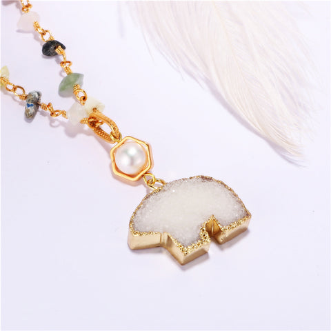 Image of Bear Crystal with  Freshwater Pearl Necklace