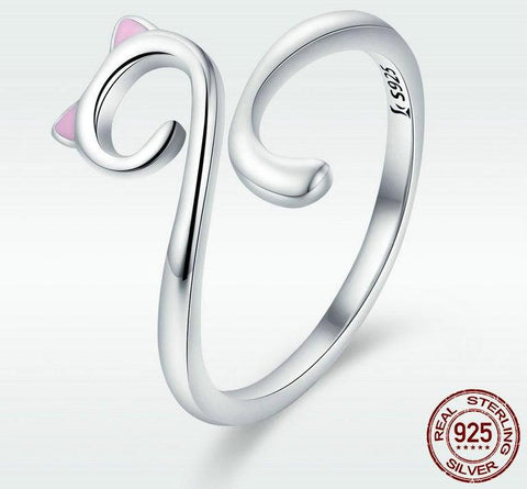 Image of 925 Sterling Silver Cute Cat Ring
