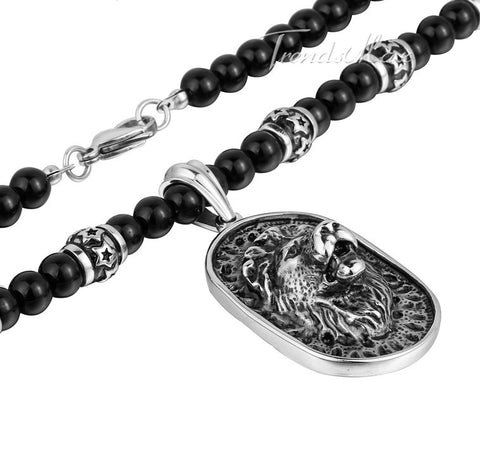 Stainless Steel Lion Pendant Necklace