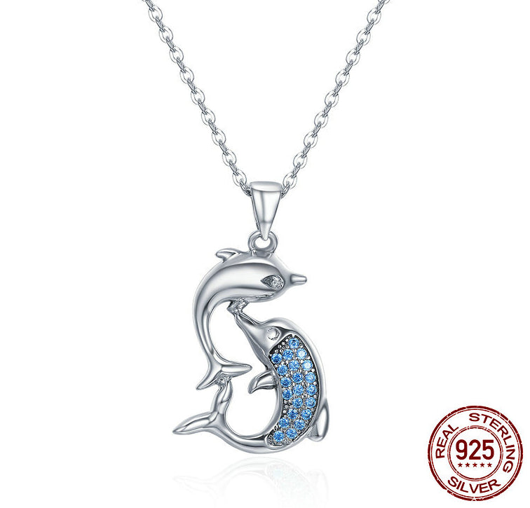 Sterling Silver Love Dolphins Pendant
