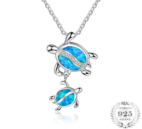 Image of Sea Turtle Sterling Silver Opal Pendant