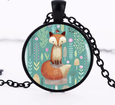 Image of Fox In the Flowers Pendant
