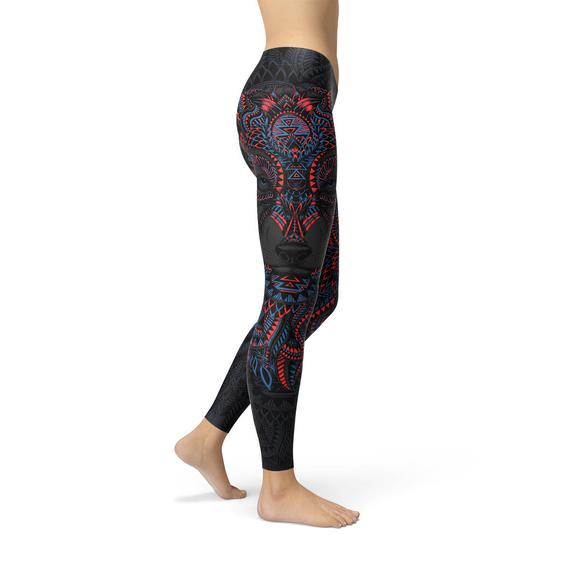 Womens Oriental Black Wolf Leggings
