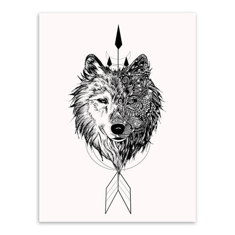 Native Indian Wolf Canvas Art