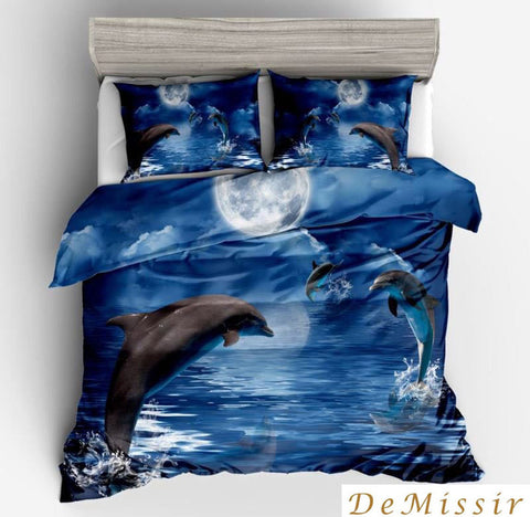 Image of 3D Jumping Dolphins Blue Sea Pattern Duvet Cover