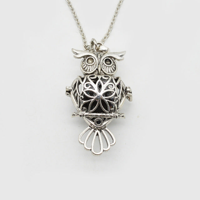 f7798bb7124872 Owl Necklace Essential Oil Diffuser With Lava Stone – Spirit Animal ...