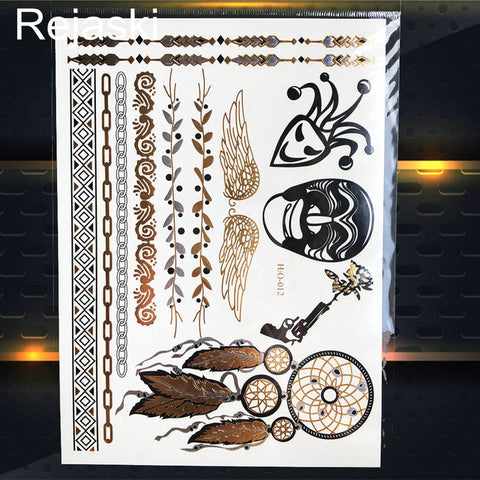 Image of Golden Elephant Metallic Temporary Tattoo Sticker