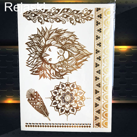 Golden Elephant Metallic Temporary Tattoo Sticker