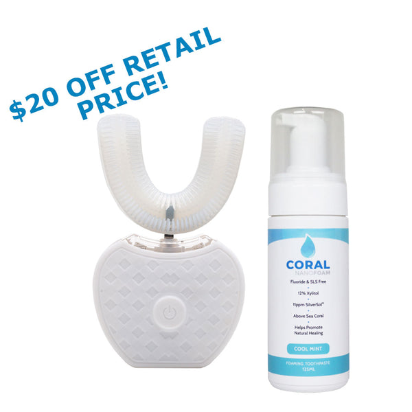 TurboBrush360 With FREE Family Size Coral Nano Foaming Toothpaste